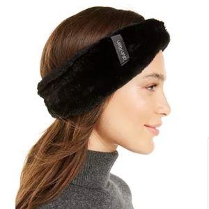 Calvin Klein solid faux fur bow head wrap